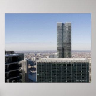 Brett flyg- panorama- beskådar av Chicago, med Poster
