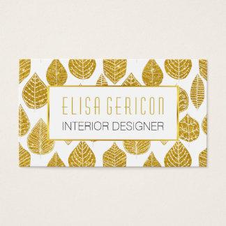 Brett lövmönster för modernt moderiktigt guld- visitkort