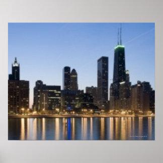 Brett panorama- beskådar av den Chicago lakefronte Poster