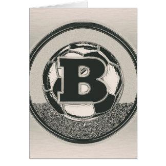 Brev B för Monogram för silvermedaljfotboll OBS Kort