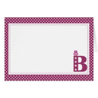 Brev B med den tomma ugglan noterar kortet OBS Kort