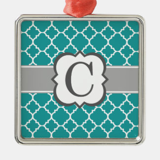 Brev C Quatrefoil för krickablåttMonogram Silverfärgad Fyrkantigt Julgransprydnad