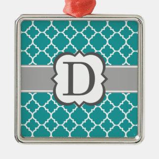 Brev D Quatrefoil för krickablåttMonogram Silverfärgad Fyrkantigt Julgransprydnad