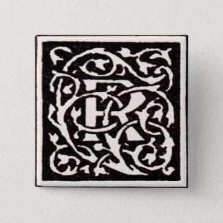 Brev för art nouveau för vintageMonogram R Standard Kanpp Fyrkantig 5.1 Cm