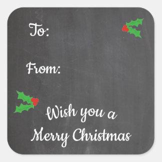 Brev för svart tavla för juljärnek fyrkantigt klistermärke