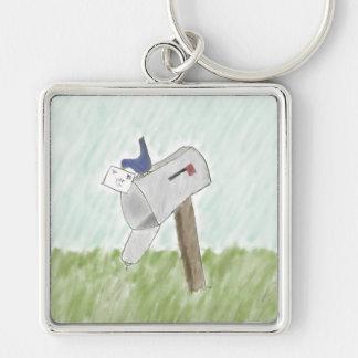 Brev från en blåsångare Keychain Fyrkantig Silverfärgad Nyckelring