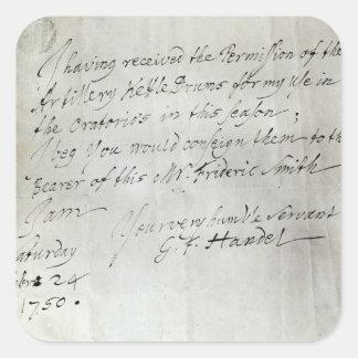 Brev från George Frederick Handel Fyrkantigt Klistermärke