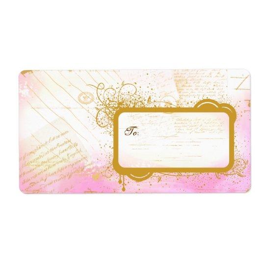 Brev från Paris rosor & guld- stora etiketter Fraktsedel