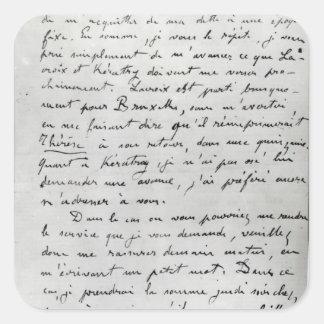 Brev från Zola till Edouard Manet 1868 Fyrkantigt Klistermärke