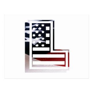 Brev L initial patriotisk USA flagga för Monogram Vykort