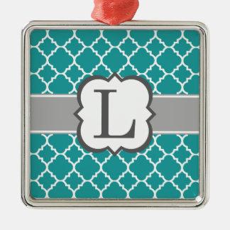 Brev L Quatrefoil för krickablåttMonogram Silverfärgad Fyrkantigt Julgransprydnad