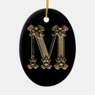Brev M som är initialt på Oval formad prydnad Julgransprydnad Keramik