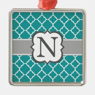Brev N Quatrefoil för krickablåttMonogram Silverfärgad Fyrkantigt Julgransprydnad