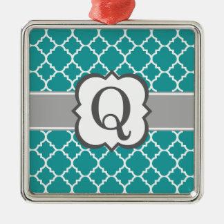 Brev Q Quatrefoil för krickablåttMonogram Silverfärgad Fyrkantigt Julgransprydnad