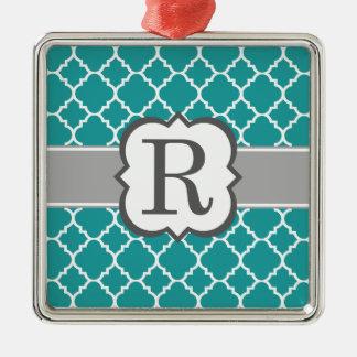 Brev R Quatrefoil för krickablåttMonogram Silverfärgad Fyrkantigt Julgransprydnad