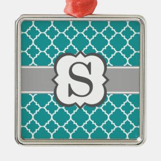 Brev S Quatrefoil för krickablåttMonogram Silverfärgad Fyrkantigt Julgransprydnad
