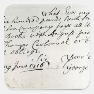 Brev som är skriftligt vid Handel, Juni 1716 Fyrkantigt Klistermärke