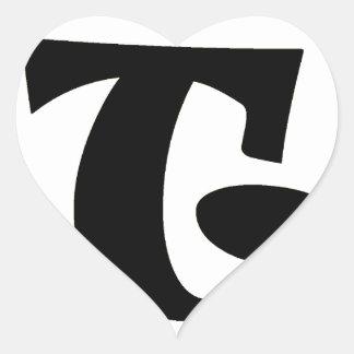 Brev T_large Hjärtformat Klistermärke