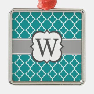 Brev W Quatrefoil för krickablåttMonogram Silverfärgad Fyrkantigt Julgransprydnad