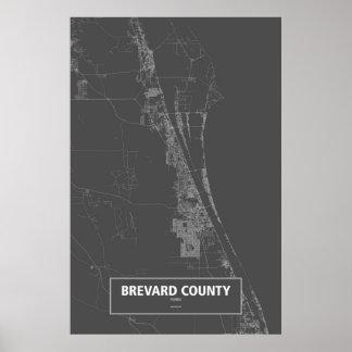 Brevard County Florida (vit på svart) Poster
