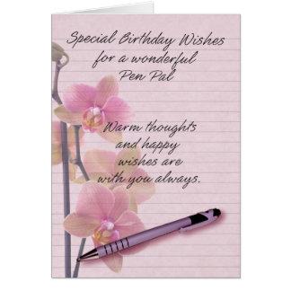 Brevvänfödelsedagkort med blom- handstilpapper hälsningskort