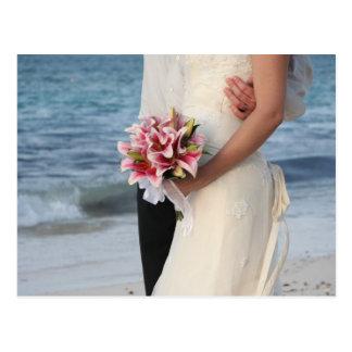 Bride's bukett, strandbröllop vykort