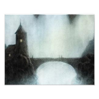 bridgefalls som möter fantasi, landskap fototryck