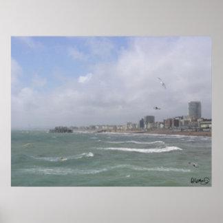 Brighton - seafront- och västerpir poster