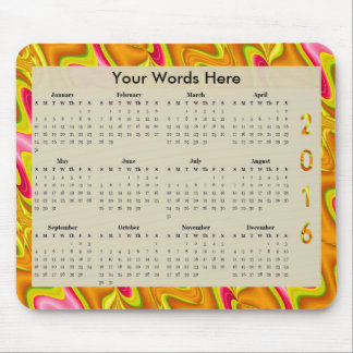 Briljant guld- årlig kalender för rosaabstrakt mus mattor