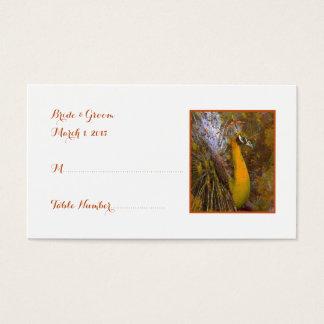Briljant guld- kort för påfågelbröllopställe