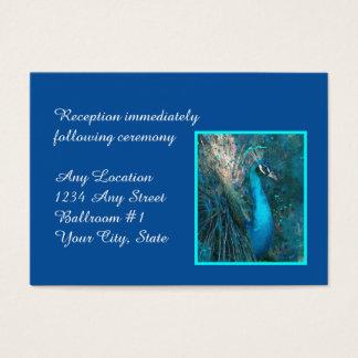 Briljant mottagande för blåttpåfågelbröllop visitkort