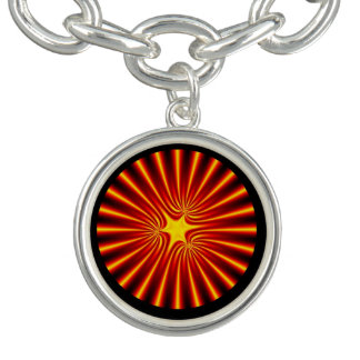 Briljant orange SunburstFractal Armband