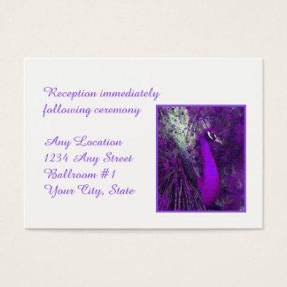 Briljant purpurfärgat påfågelbröllopmottagande visitkort