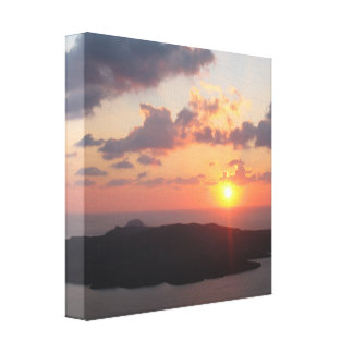 Briljant Santorini solnedgång Canvastryck