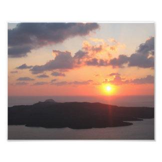 Briljant Santorini solnedgång Fototryck