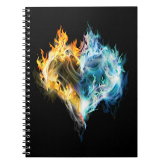Brinna hjärtaanteckningsbok anteckningsbok med spiral