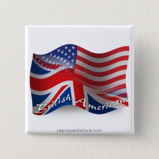 Britt-Amerikan som vinkar flagga Standard Kanpp Fyrkantig 5.1 Cm