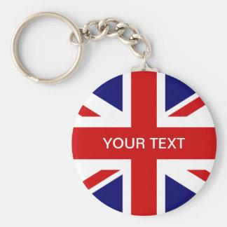 Brittisk design för jack för flagganyckelring | rund nyckelring