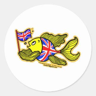Brittisk fisk med en facklig jackflagga runt klistermärke
