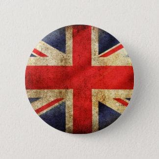 Brittisk flagga centrerade Button för Grunge Standard Knapp Rund 5.7 Cm