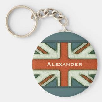 Brittisk flagga för personlig rund nyckelring