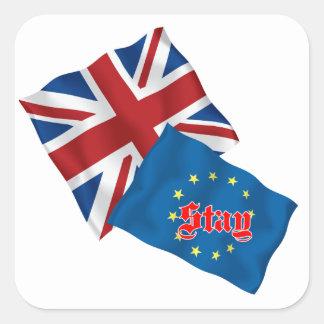 Brittisk flagga och EUROflagga med stag Fyrkantigt Klistermärke