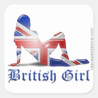 Brittisk flickaSilhouetteflagga Fyrkantigt Klistermärke