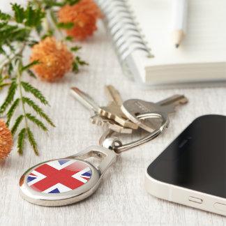 Brittisk glansig flagga ovalt silverfärgad nyckelring
