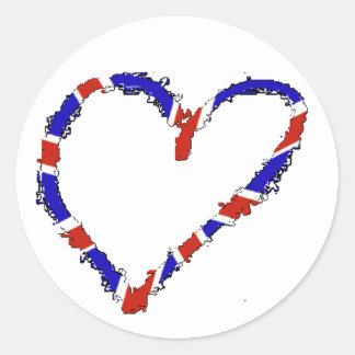 Brittisk hjärtaklistermärke runt klistermärke