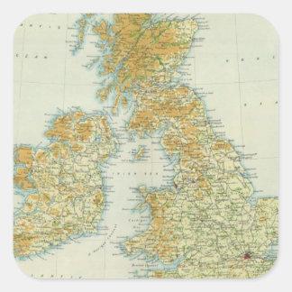 Brittisk Islesvegetation & klimatkarta Fyrkantigt Klistermärke