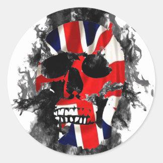 brittisk skalle runt klistermärke