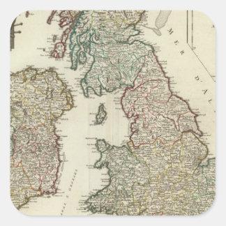 Brittiska Isles 4 Fyrkantigt Klistermärke