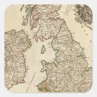 Brittiska Isles 9 Fyrkantigt Klistermärke