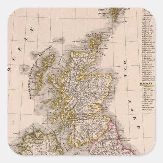 Brittiska Isles, England, Irland Fyrkantigt Klistermärke